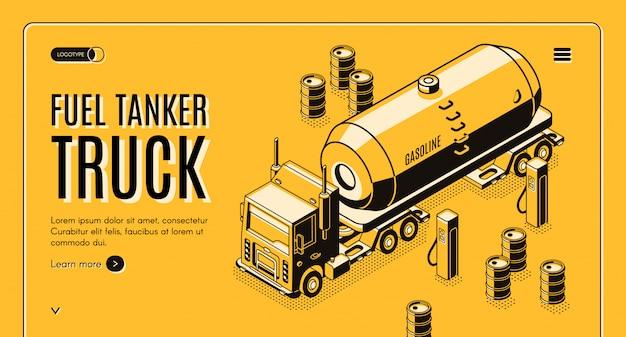 Banner de web de transporte de combustible con camión cisterna transportando gasolina a gasolinera vector gratuito