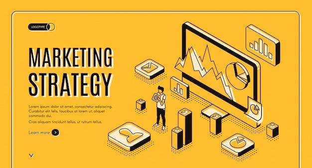 Banner de web de vector isométrico de agencia de marketing digital vector gratuito