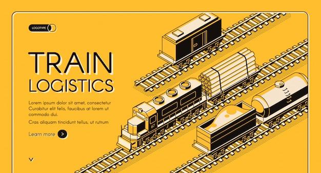 Banner de web de vector isométrico empresa de transporte industrial del ferrocarril vector gratuito
