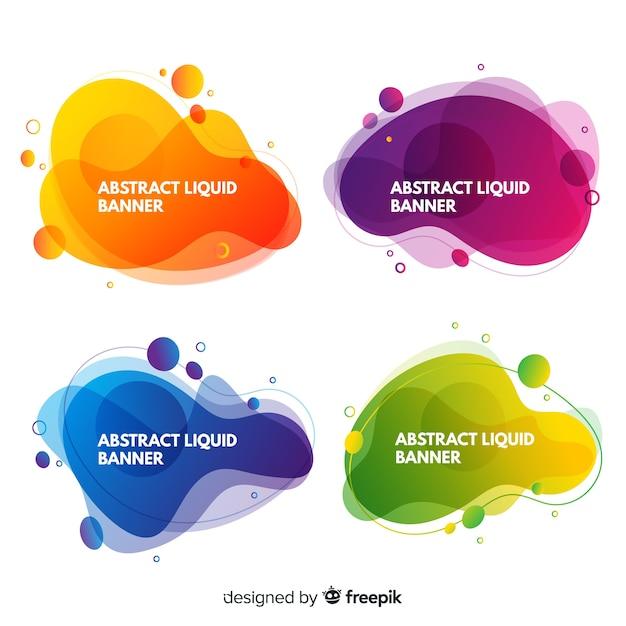 Banners abstracto de formas líquidas vector gratuito