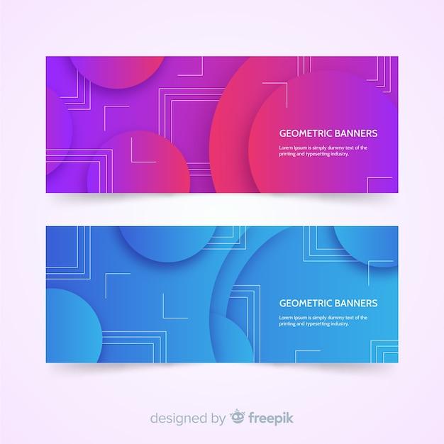 Banners abstractos coloridos con diseño geométrico vector gratuito