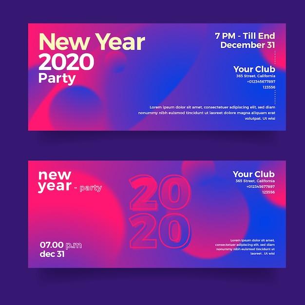 Banners abstractos conjunto fiesta año nuevo 2020 vector gratuito