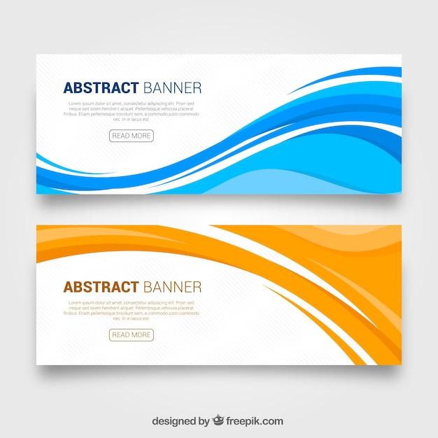Banners abstractos de ondas Vector Gratis