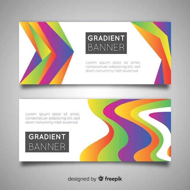 Banners abstractos con diseño de degradado vector gratuito