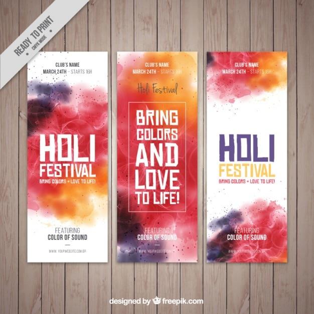 Banners abstractos del festival holi vector gratuito