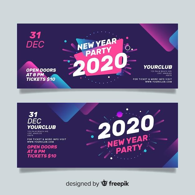 Banners abstractos de fiesta de año nuevo 2020 vector gratuito