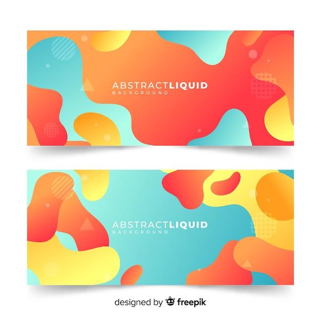 Banners abstractos con formas líquidas vector gratuito