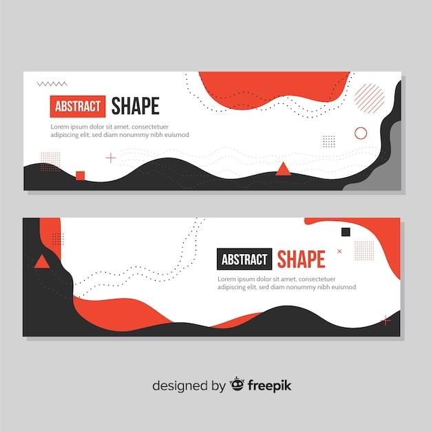 Banners abstractos con formas orgánicas vector gratuito