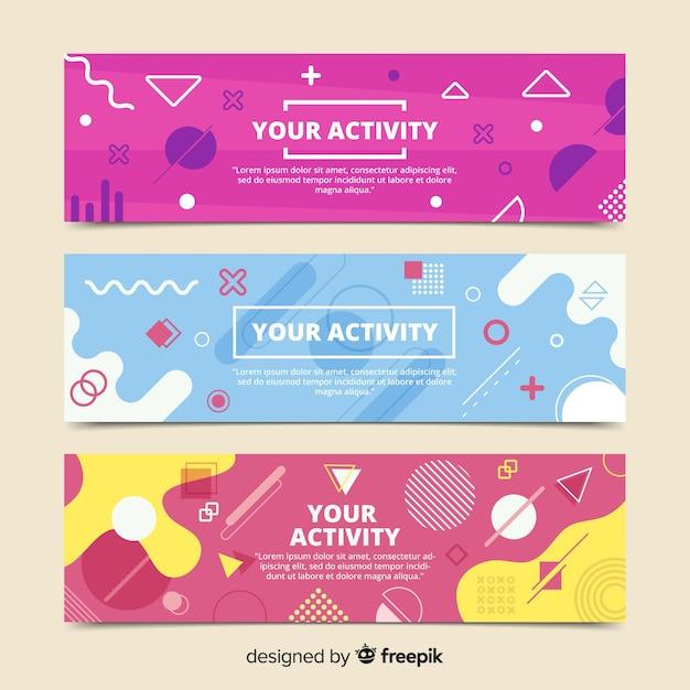 Banners abstractos modernos con diseño plano vector gratuito