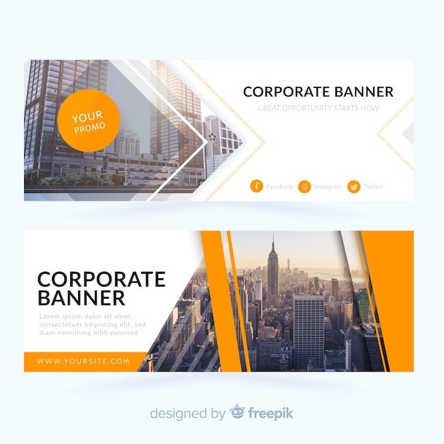 Banners abstractos de negocio vector gratuito