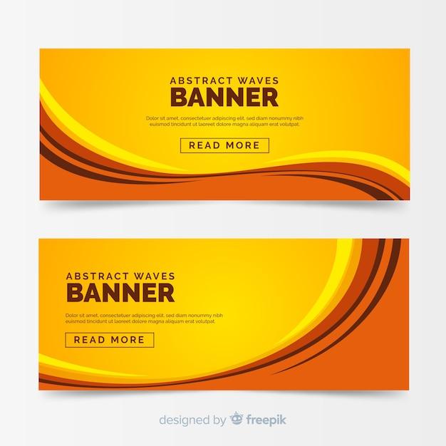Banners abstractos con ondas vector gratuito