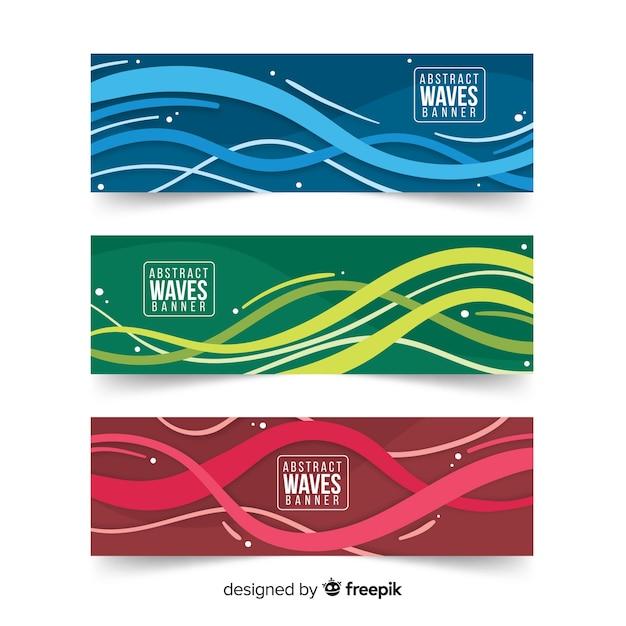 Banners abstractos con ondas Vector Premium