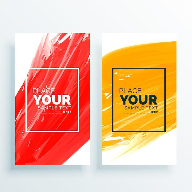 Banners abstractos rojos y amarillos establecen fondo Vector Gratis