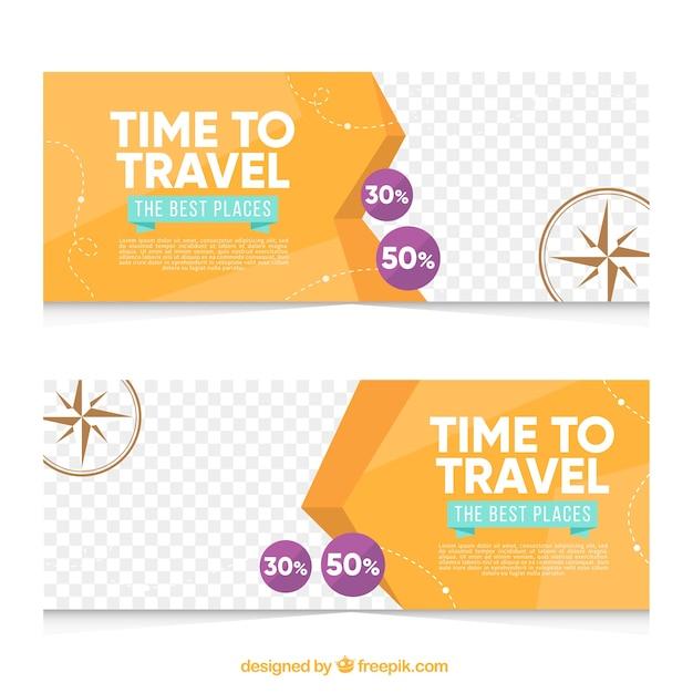 Banners abstractos de viaje vector gratuito