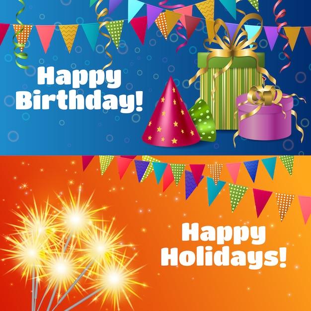 Banners de accesorios festivos realistas vector gratuito