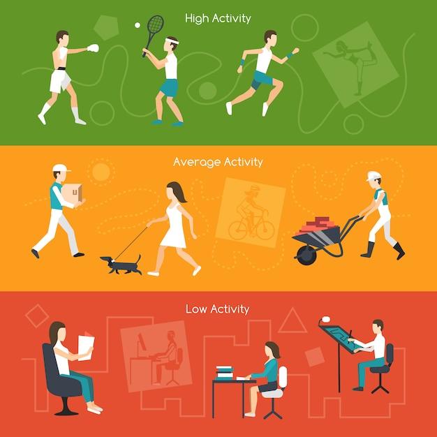 Banners de actividad física vector gratuito