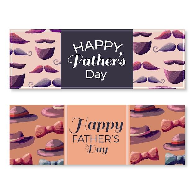 Banners de acuarela del día del padre vector gratuito