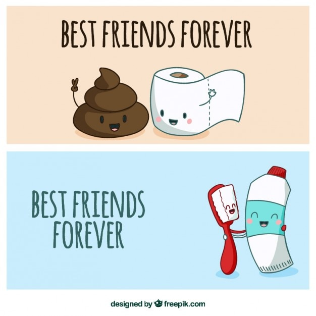 Banners de amigos inseparables dibujados a mano Vector Premium