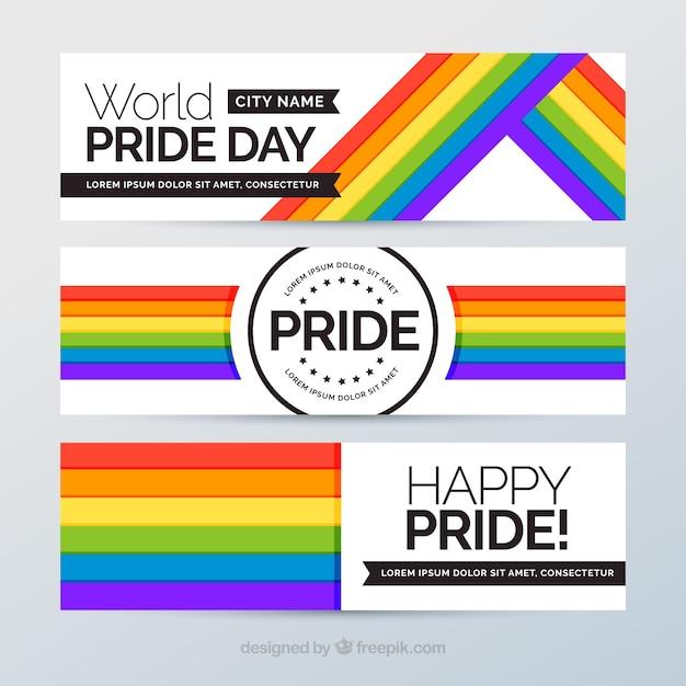 Banners con bandera colorida del día del orgullo vector gratuito