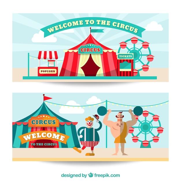 Banners de bienvenida de circo vector gratuito