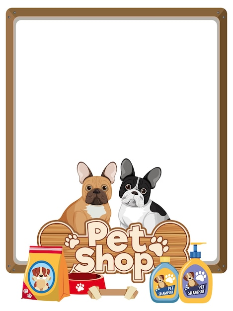 Banners en blanco con el logotipo de la tienda de mascotas y perros lindo aislado sobre fondo blanco Vector Premium