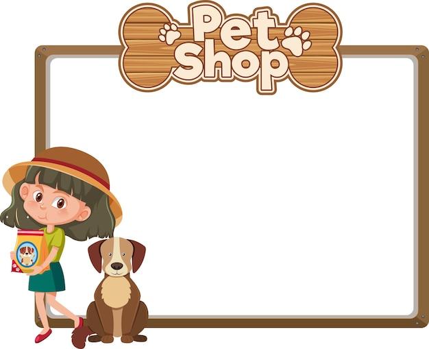 Banners en blanco con niño y lindo perro y logotipo de tienda de mascotas aislado sobre fondo blanco. Vector Premium