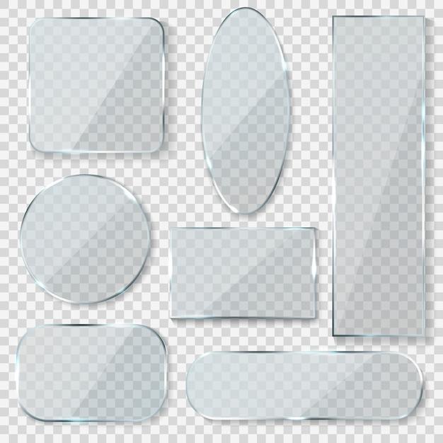 Banners en blanco de vidrio. rectángulo círculo vidrio textura ventana plástico transparente etiquetas con reflejo acrílico paneles brillantes Vector Premium