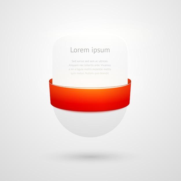 Banners blancos con cinta roja con espacio de copia vector gratuito