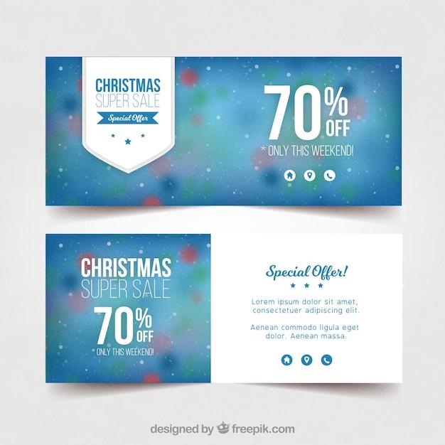 Banners bokeh de rebajas navideñas  Vector Gratis
