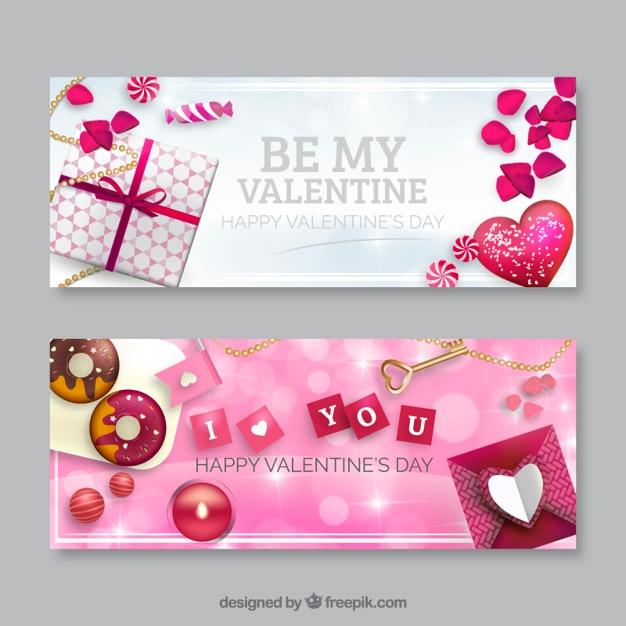 Banners bonitos del día de San Valentín Vector Premium