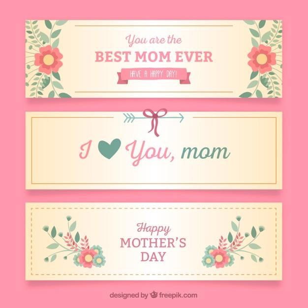Banners bonitos del día de la madre vector gratuito