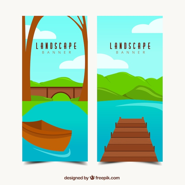 Banners de bonitos paisajes vector gratuito