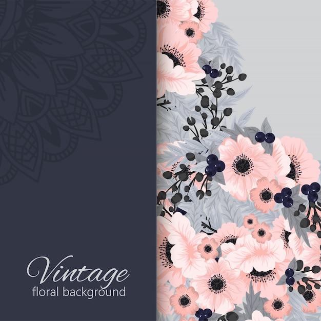 Banners botánicos vintage vector con flor vector gratuito