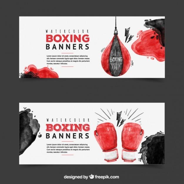 Banners de boxeo de acuarela vector gratuito