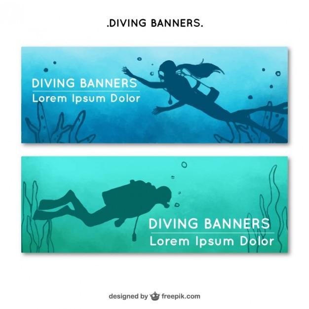 Banners de buceadores vector gratuito
