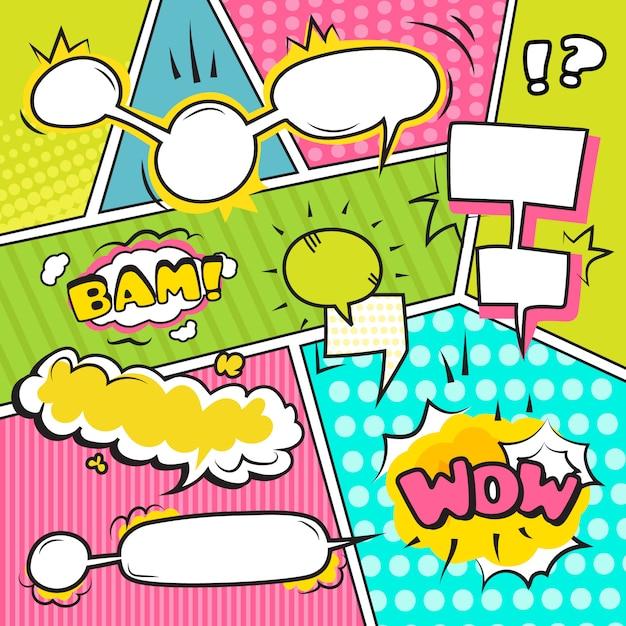 Banners de burbujas emocionales de discurso y sonido cómico conjunto ilustración vectorial plana vector gratuito