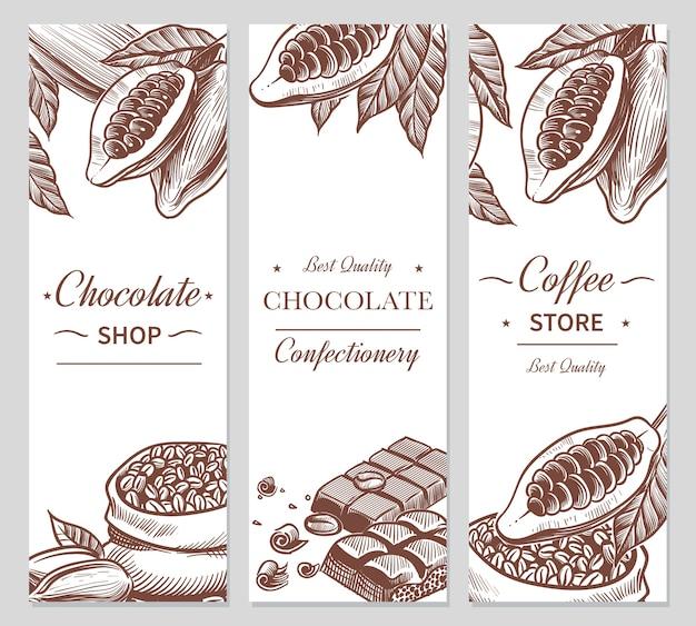 Banners de cacao y chocolate. dibuja semillas de cacao y café, barras de chocolate y dulces. dulces dibujados a mano, etiquetas de belleza de cafetería para branding choco natural flyers Vector Premium