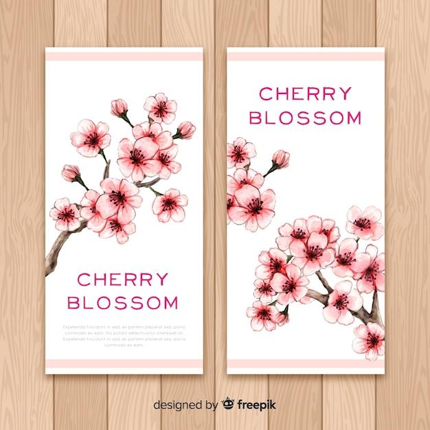 Banners de cerezo en flor vector gratuito