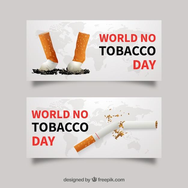 Banners de cigarrillos vector gratuito