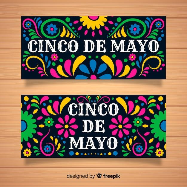 Banners del cinco de mayo dibujado a mano vector gratuito