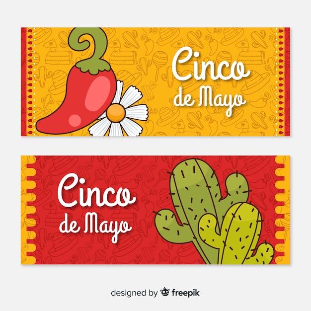 Banners del cinco de mayo vector gratuito