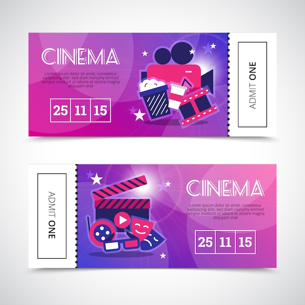 Banners de cine en forma de boleto de teatro colorido con máscaras de cámara palomitas de maíz 3d gafas signos vector gratuito
