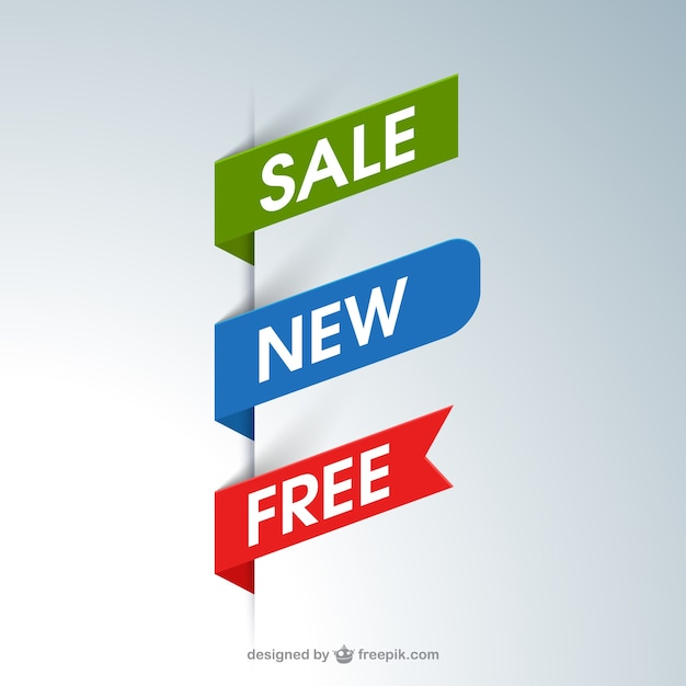 Banners de cinta de promoción vector gratuito