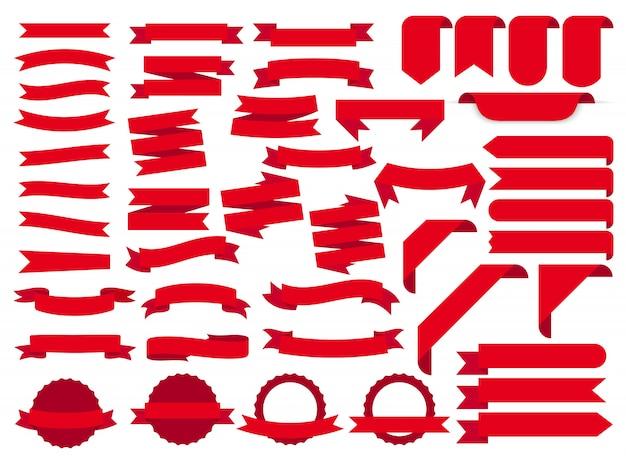 Banners de cinta roja, conjunto de etiquetas de plantilla. en blanco para decoración gráfica. ilustración Vector Premium