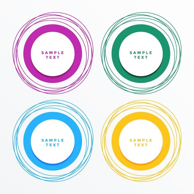 Banners de círculo moderno establecen fondo vector gratuito