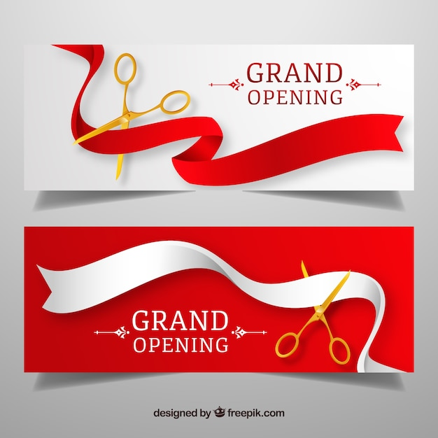 Banners clásicos de inauguración con tijeras doradas vector gratuito