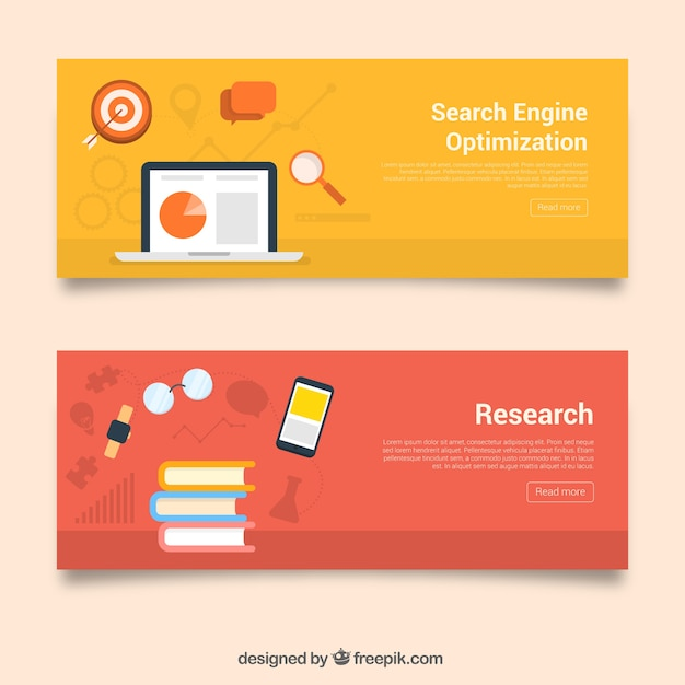 Banners coloridos con libros y dispositivos tecnológicos | Descargar ...