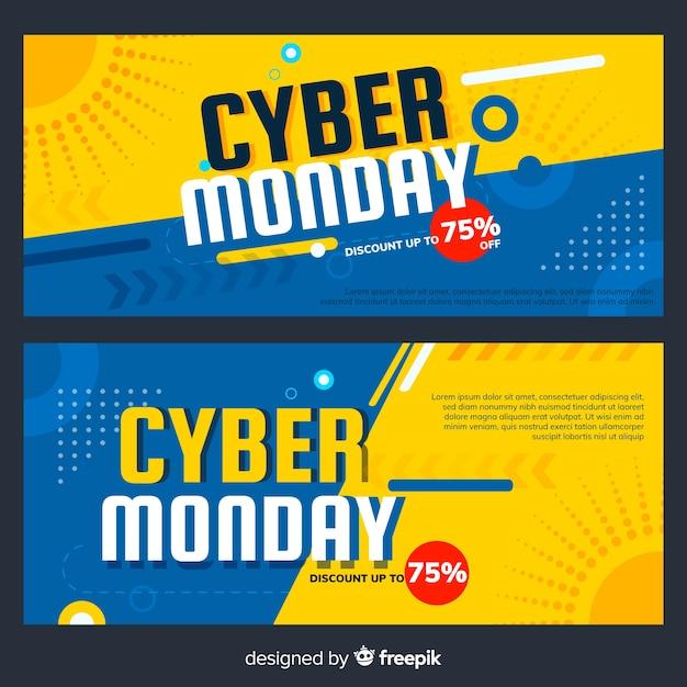 Banners coloridos de cyber monday con diseño plano vector gratuito