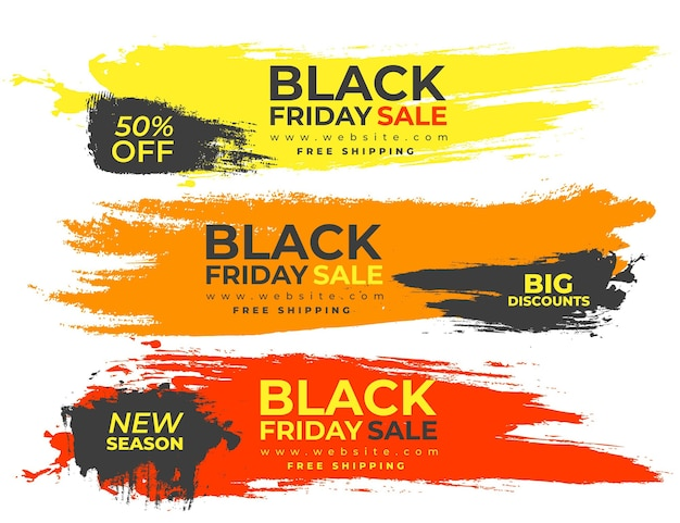 Banners coloridos salpican para black friday vector gratuito