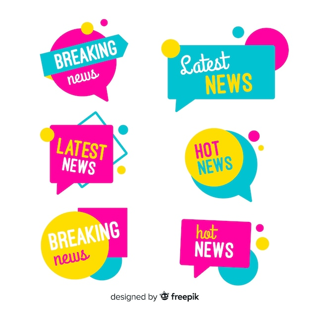 Banners coloridos de últimas noticias vector gratuito